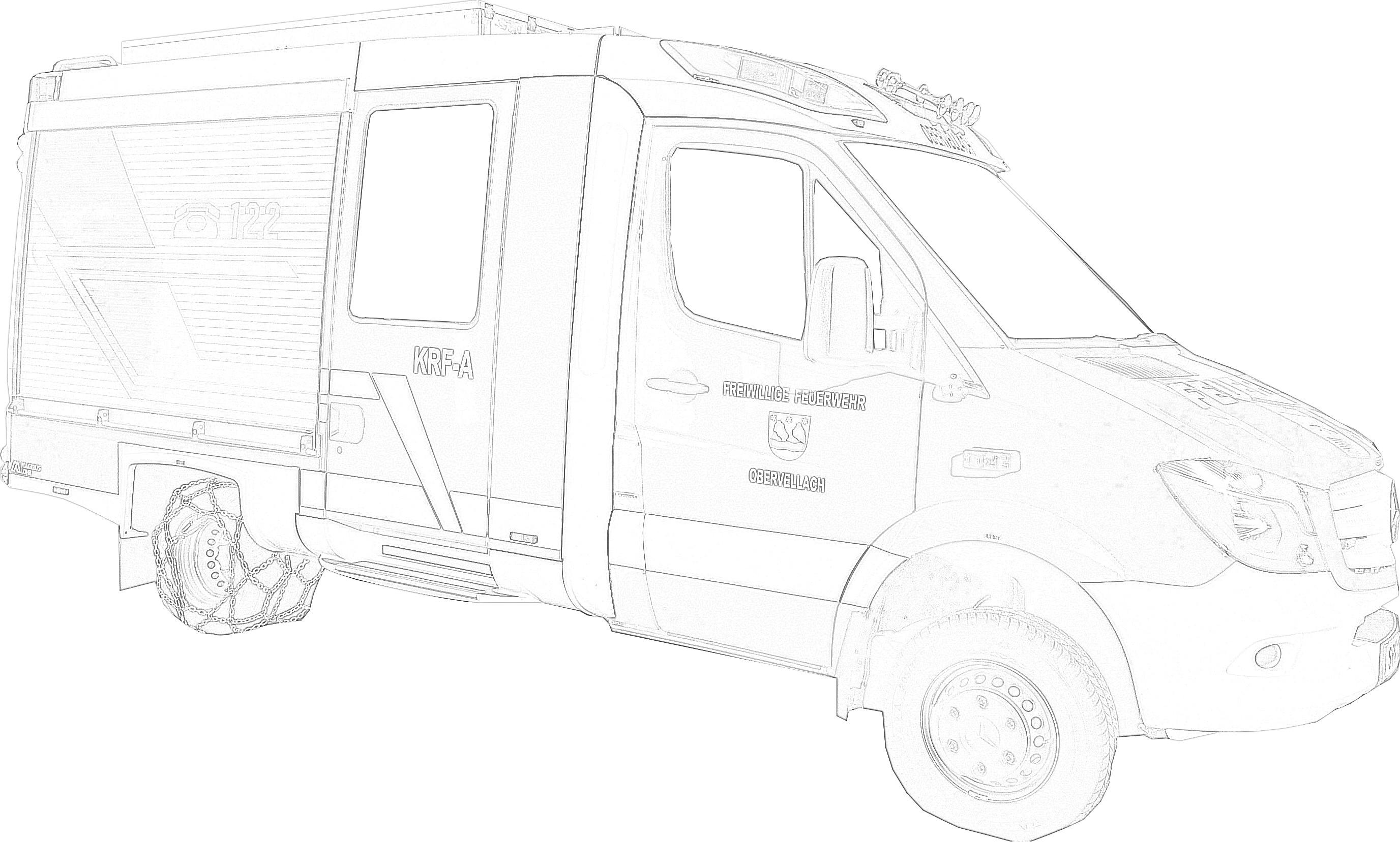 Ausmalbild Kleinrüstfahrzeug